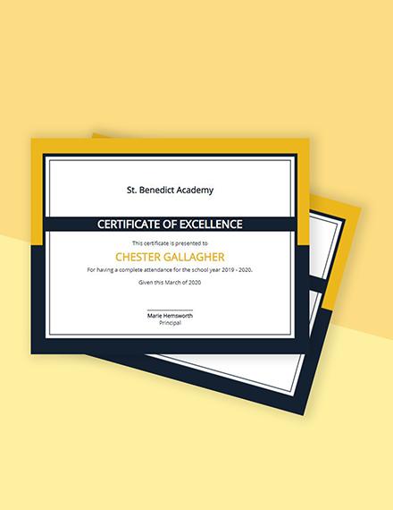 Free School Attendance Certificate Template