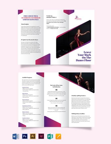 Insignia Dance Studio Tri-Fold Brochure Template