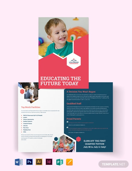 Little Einsteins Kindergarten Bi-Fold Brochure Template