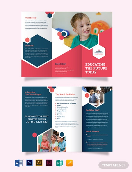 Little Einsteins Kindergarten Tri-Fold Brochure Template