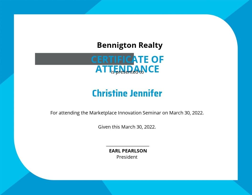 Free Seminar Attendance Certificate Template