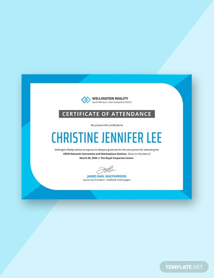 11 Free Attendance Certificate Templates Download Ready Made