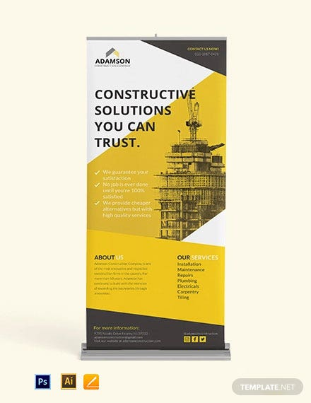 Construction Roll Up Banner Template [Free PSD] - Illustrator, Apple Pages