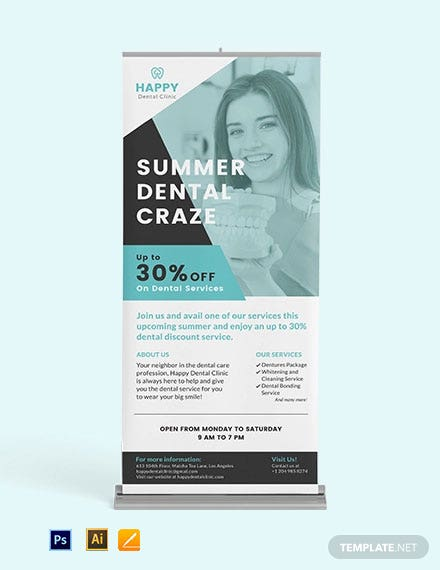 Dental Clinic Roll Up Banner Template