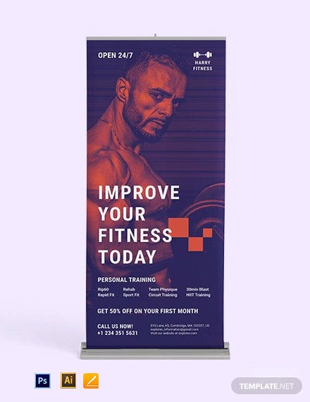 Fitness Center Roll-up Banner Template