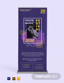 Music Party Roll Up Banner Template