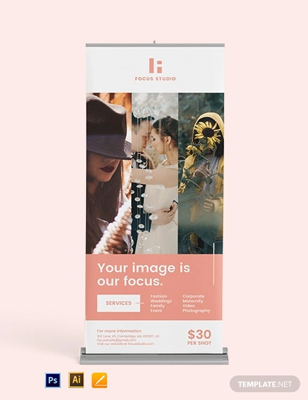 Free Modern Photography Roll Up Banner Template
