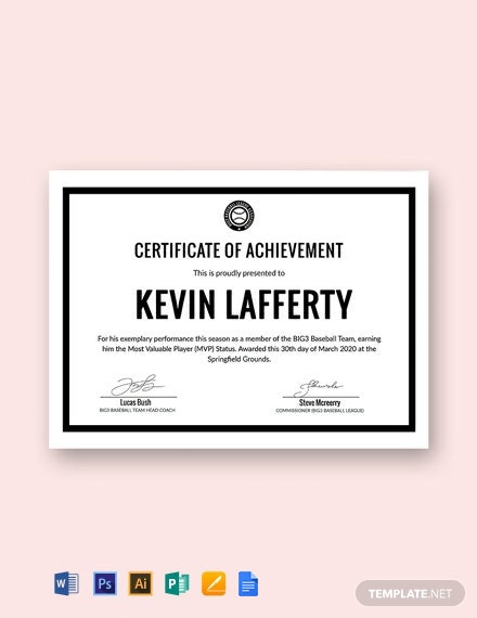 Free Simple Sports Certificate Template
