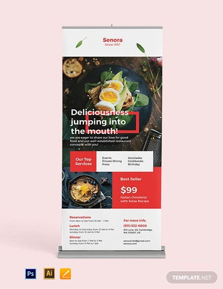 Restaurant Services Roll Up Banner Template