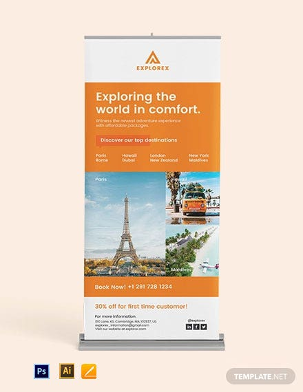 Travel Roll Up Banner Template