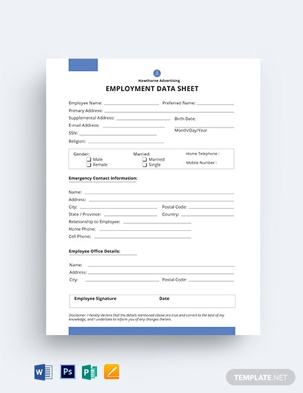 Employment Datasheet Template [Free PSD] - Word, Apple Pages, Publisher