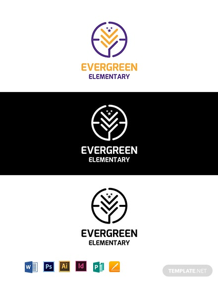 Evergreen Elementary Logo Template
