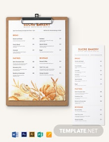 Bakery Menu Board Template