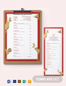 Bar Cocktail Menu Template