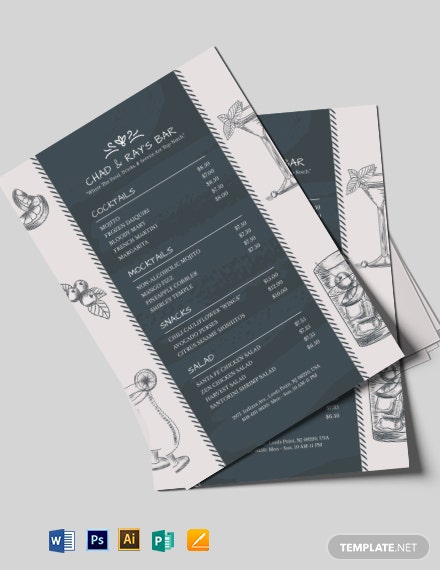 Chalkboard Bar Menu Template