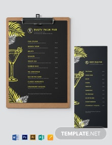 Chalkboard Cocktail Menu Template