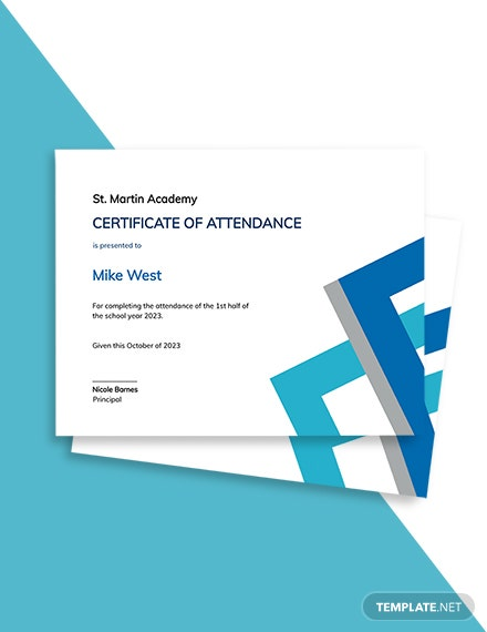 Free Student Attendance Certificate Template