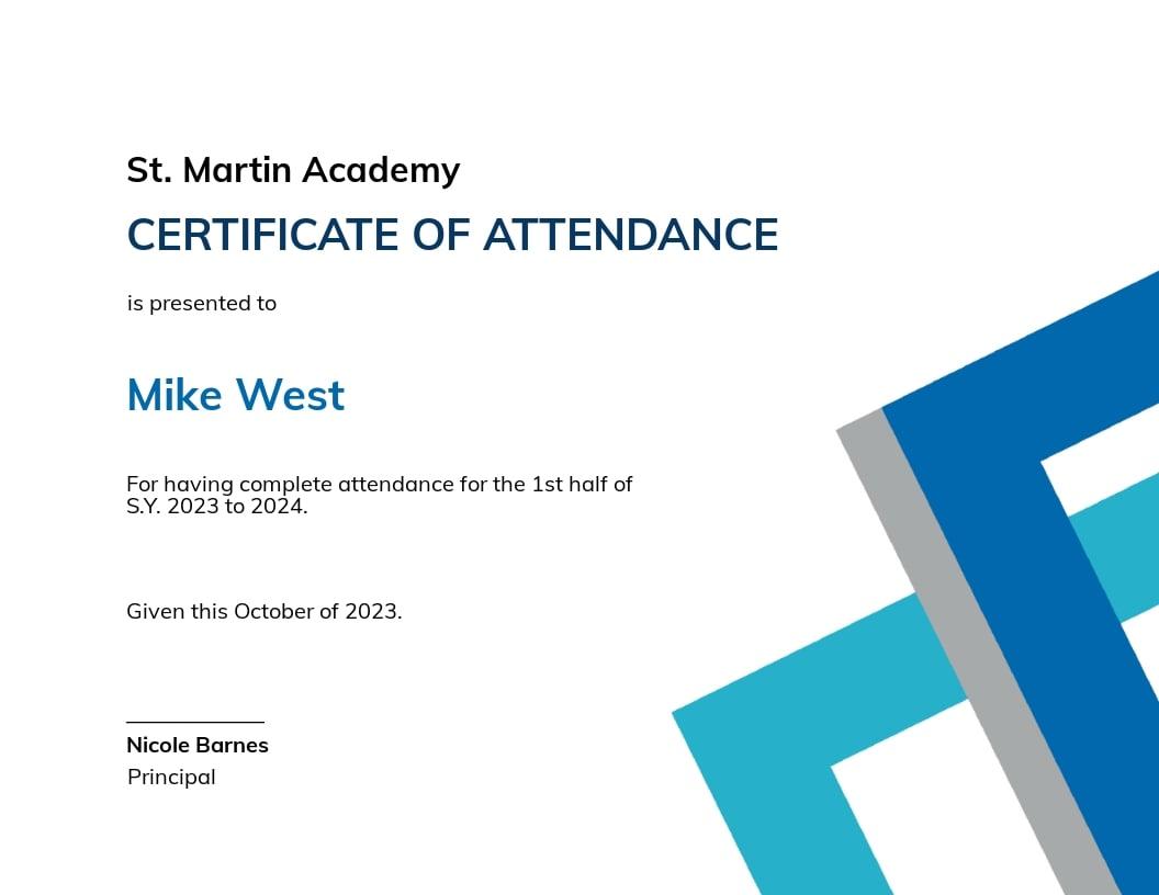 Student Attendance Certificate Template