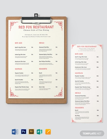 Chinese Takeaway Menu Template