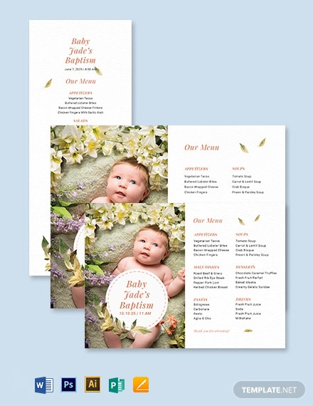 Christening Baptism Menu Template