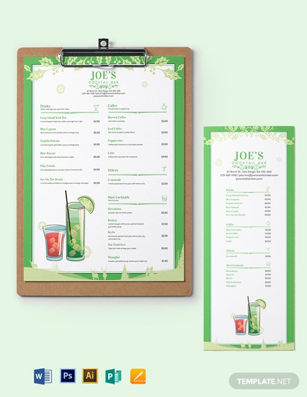 christmas cocktail menu template