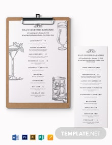 Cocktail Menu Board Template