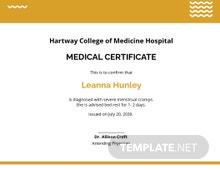 Free Sample Student Medical Certificate For Sick Leave Template