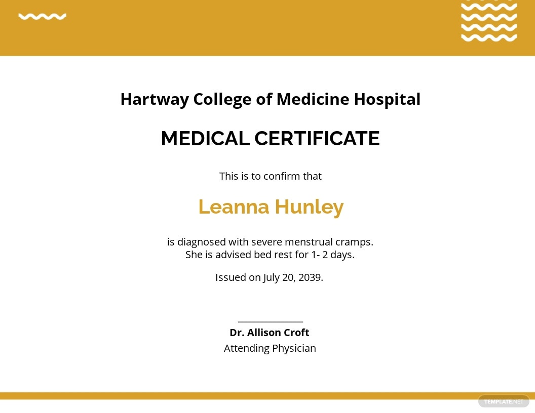 Free Sample Student Medical Certificate For Sick Leave Template.jpe