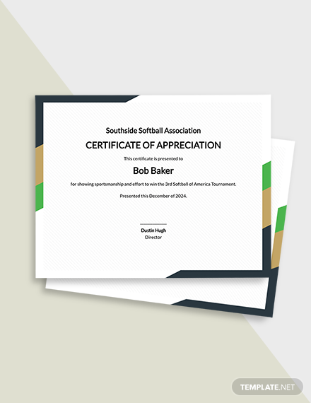 Free Softball Certificate Template