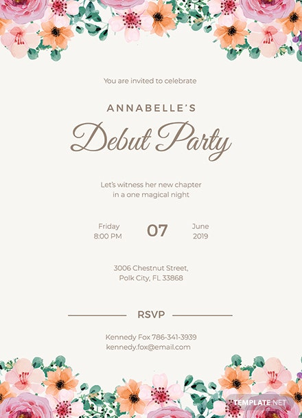 Free Formal Debut Invitation Template Download 344