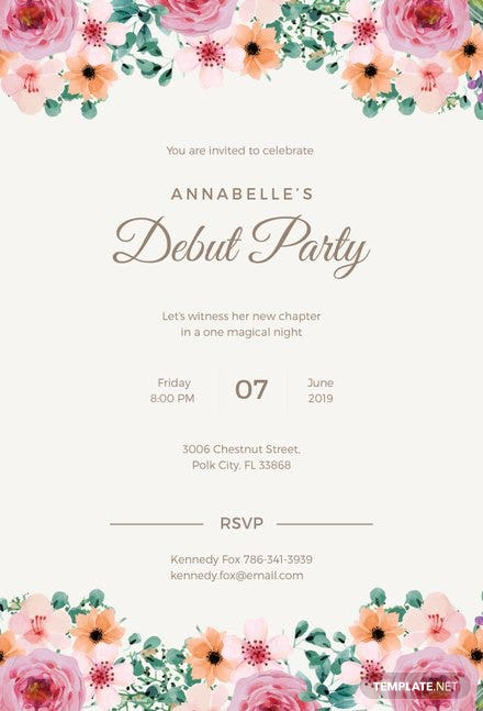 Free formal debut invitation template download 344 invitations in free formal debut invitation template download 344 invitations in word publisher illustrator pages psd template stopboris Images