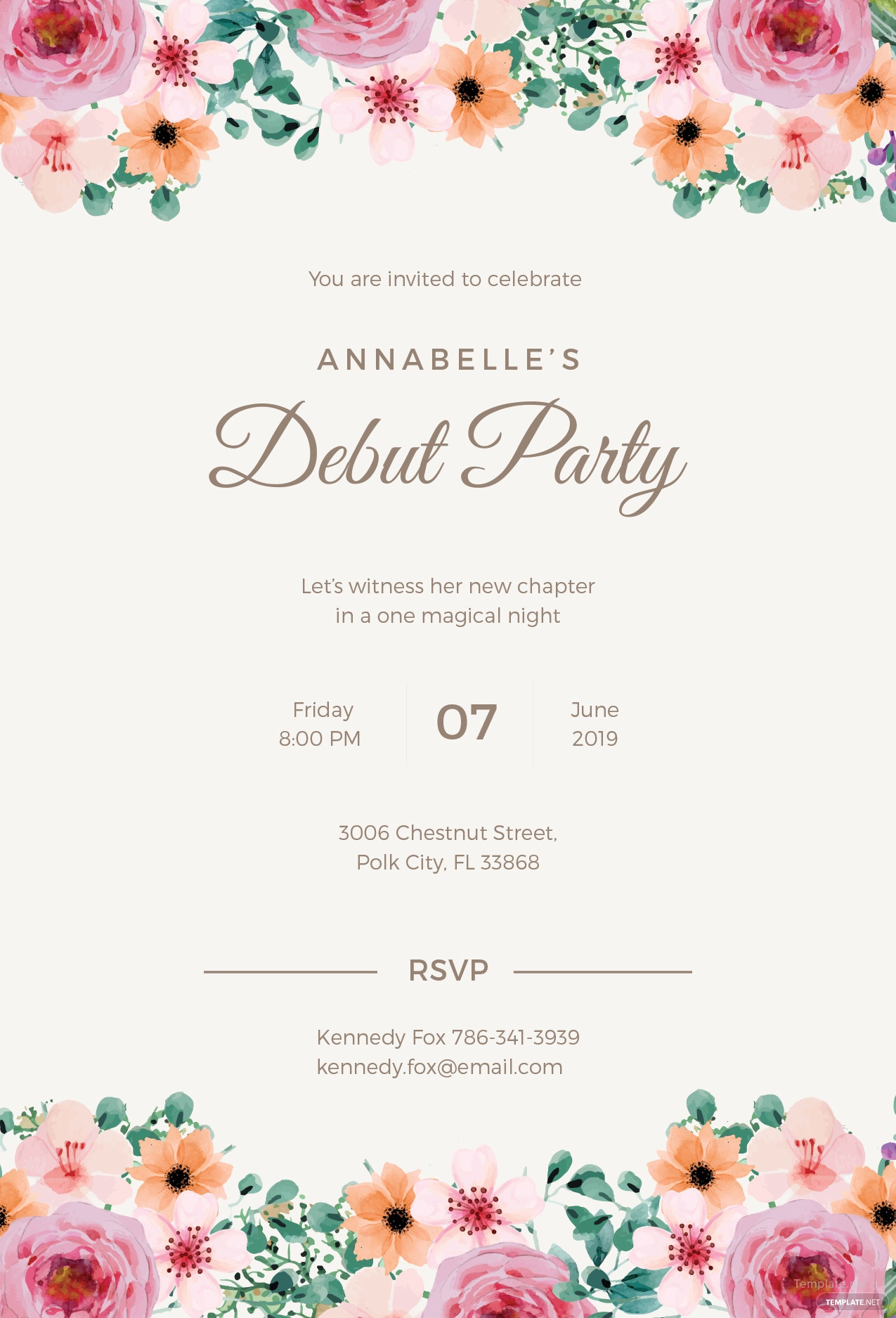 free formal debut invitation template in microsoft word  microsoft publisher  adobe illustrator