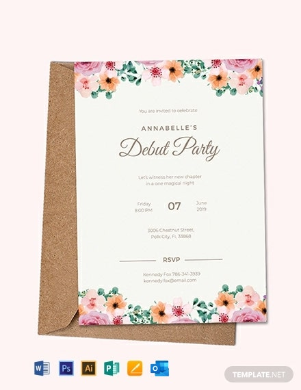 7 Free Debut Invitation Templates Word Psd Indesign