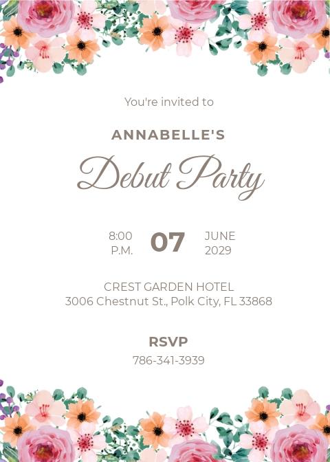 Free Formal Debut Invitation Template