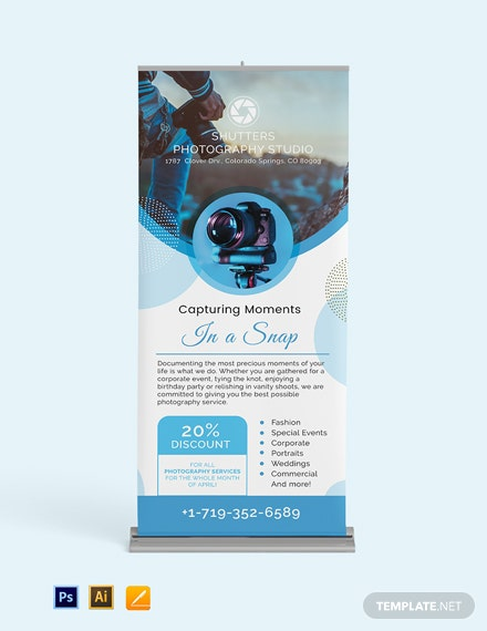 Editable Photography Roll Up Banner Template