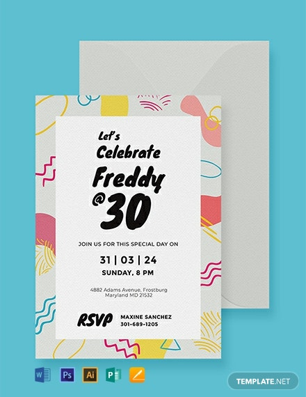 Free Birthday Party Invitation Card Template Word Psd