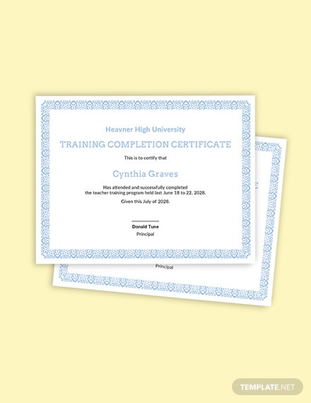 Free Teachers Training Completion Certificate Template