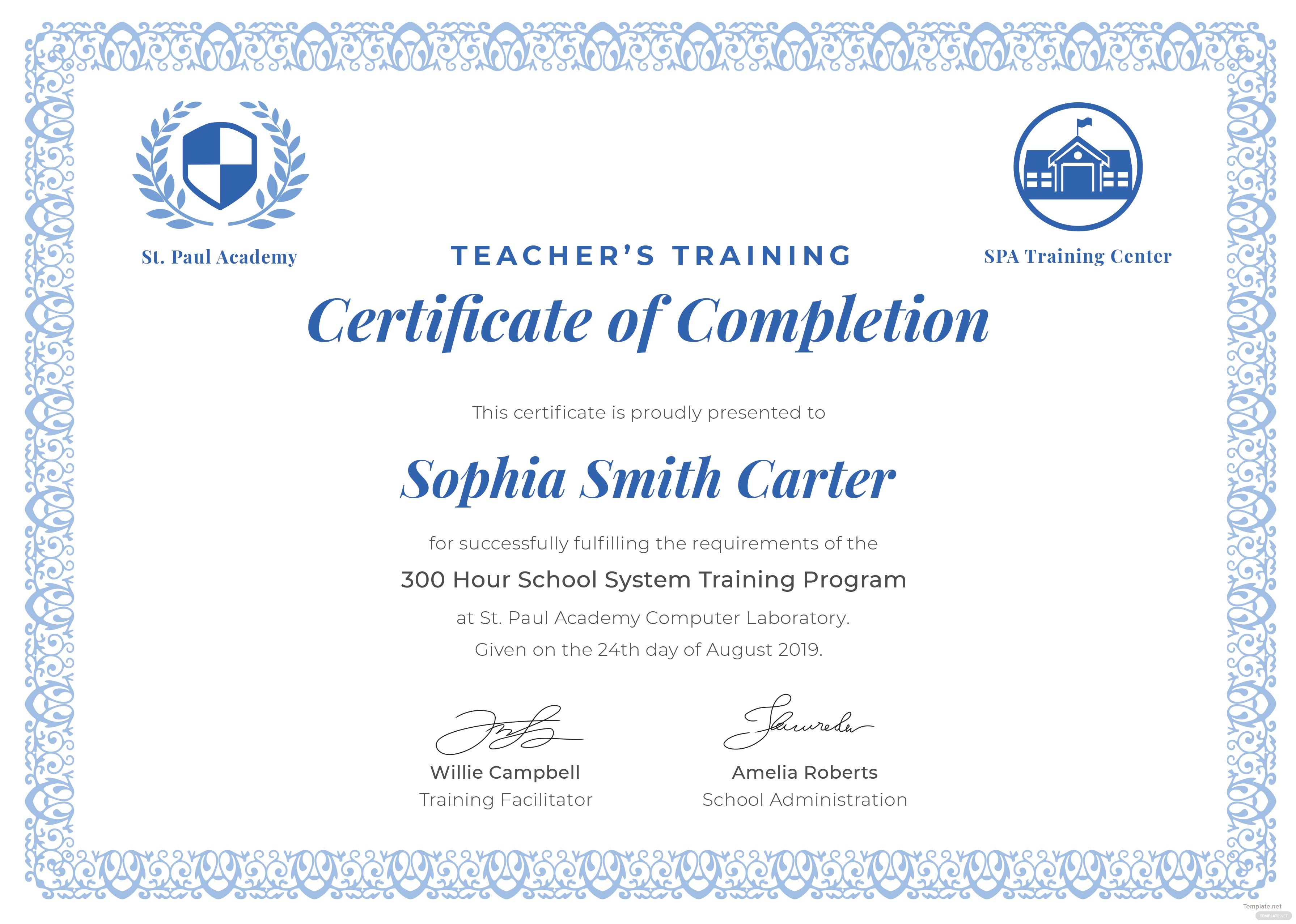 Free teachers training completion certificate template in adobe click to see full template teachers training completion certificate yadclub Choice Image