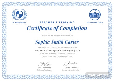 free teachers training completion certificate template download 200 certificates in psd illustrator word publisher pages templatenet - Teacher Certificate Template