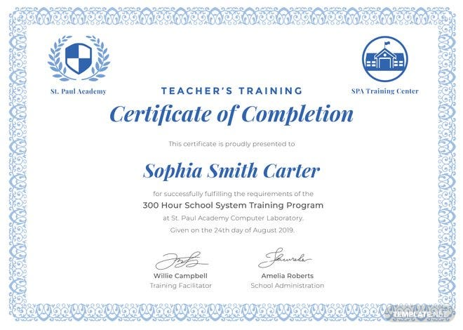 Free Teacher's Training Completion Certificate Template ...