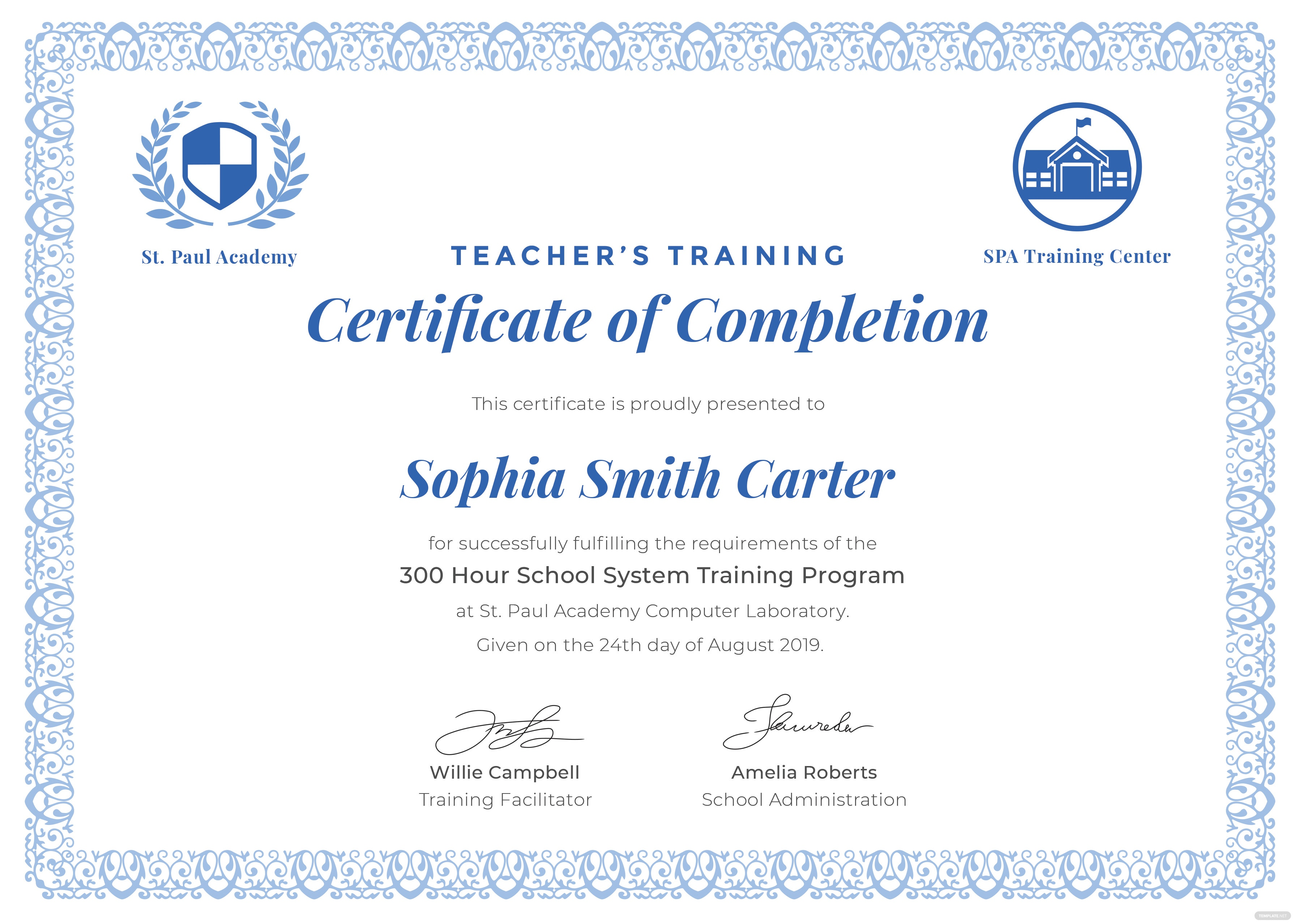 Free teachers training completion certificate template in adobe teachers training completion certificate yelopaper Image collections