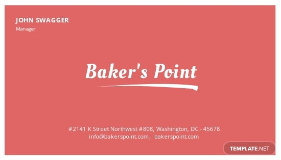Simple Bakery Business Card Template