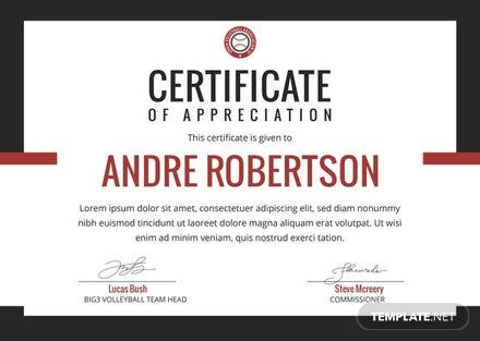 Free Volleyball Appreciation Certificate Template: Download 200+ ...