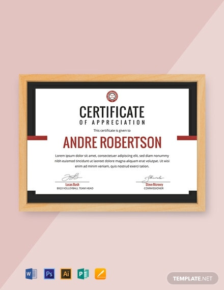 Free Volleyball Appreciation Certificate Template