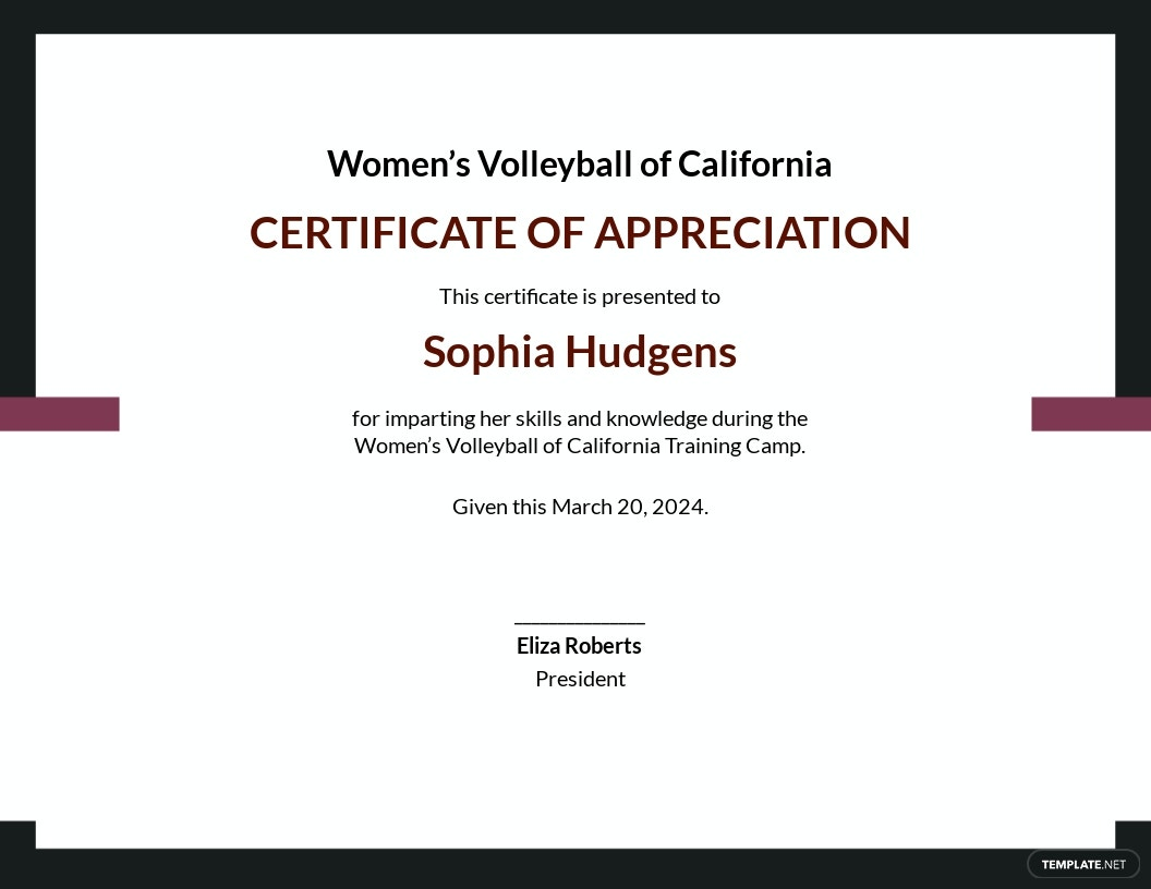 Volleyball Appreciation Certificate Template