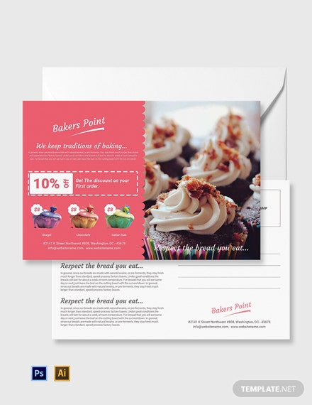 Free Bakery Postcard Template