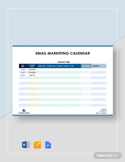email marketing calendar 2