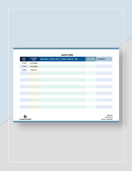 Email Marketing Calendar Download