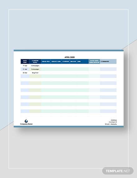 Sample Email Marketing Calendar
