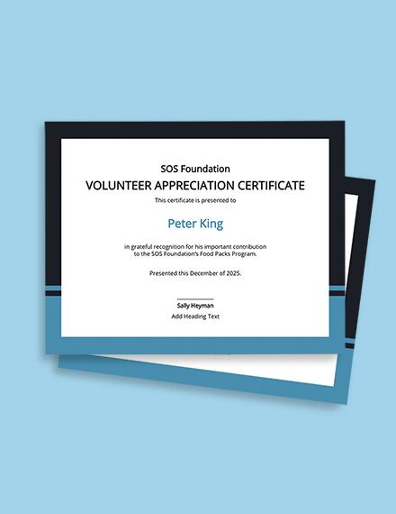 Free Volunteer Certificate of Appreciation Template